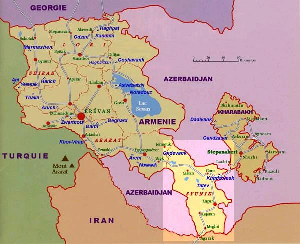 Syunik, cart d'Arménie
